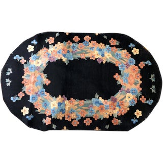 Antique Oval Black Ground Art Deco Chinese Rug - 2′10″ × 4′10″ For Sale
