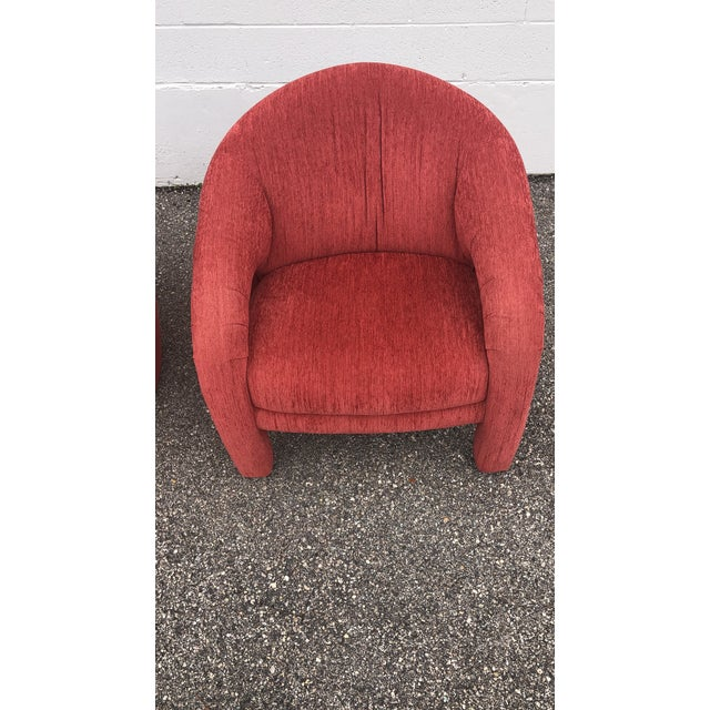 Late 20th Century Mid-Century Vladimir Kagan Style Red Sculptural Chairs - a Pair For Sale - Image 5 of 8