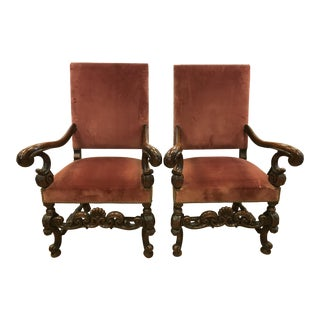 Italian Carved Throne Arm Chairs - a Pair