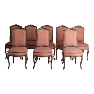 French Provincial Carved Wood Frame Upholstered Dining Side Chairs - Set of 8 For Sale