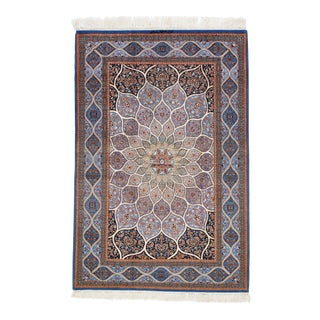 Genuine Persian Isfahan Handmade Silk & Wool Rug - 4′6″ × 6′9″ For Sale