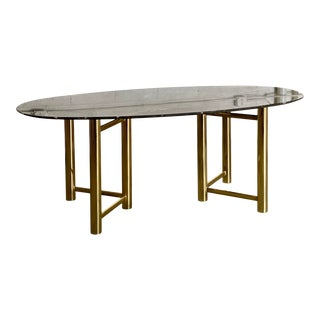 1970s Mastercraft Brass and Black Marble Dining Table For Sale