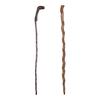 Antique Handmade Sapling Canes/Walking Sticks C.1910-A Pair For Sale