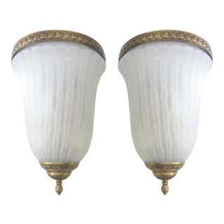 Frosted Glass & Brass Scott Lamp Wall Sconces - A Pair