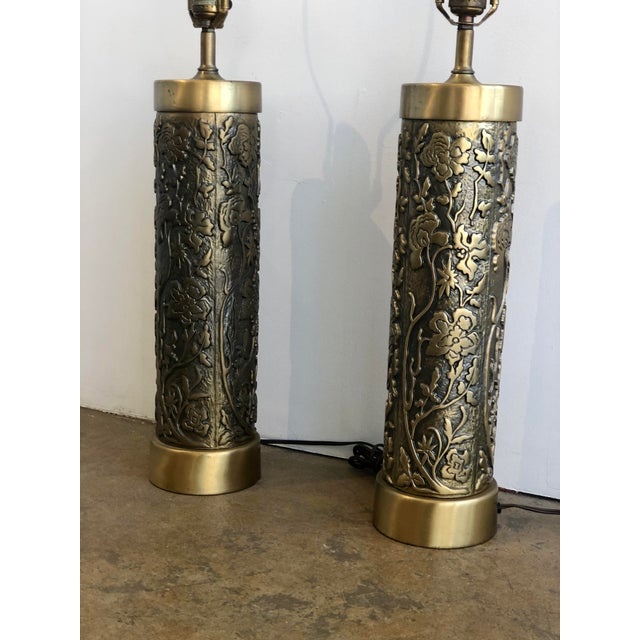 Westwood Lamps Mid Century Westwood Brass Floral Table Lamps For Sale - Image 4 of 7