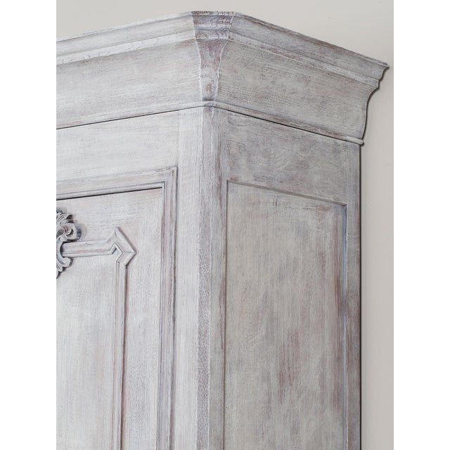 Mid 19th Century Antique French Painted Oak Louis Philippe Buffet a Deux Corps Cabinet For Sale - Image 4 of 11