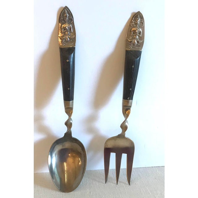 Mid-Century Modern Vintage Brass and Rosewood Serving Set For Sale - Image 3 of 11