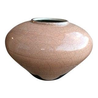 Mark Hines Raku Crackle Glaze Pottery Vase For Sale