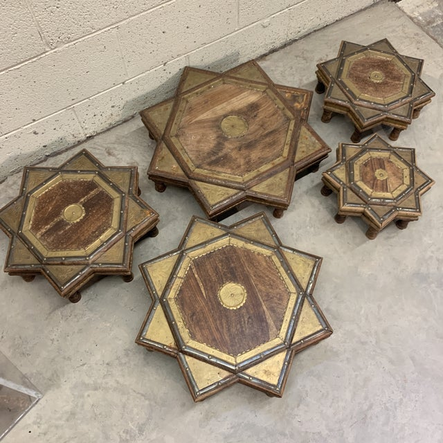 1960s Vintage Moroccan Star Stacking Tables For Sale - Image 5 of 12