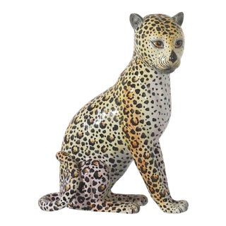 Italian Hand Painted Ceramic Leopard Statue Circa 1970s For Sale