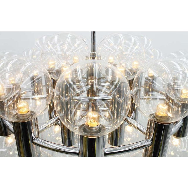 Motoko Ishii Large Chrome and Glass Chandelier by Motoko Ishii for Staff, 1971 For Sale - Image 4 of 9