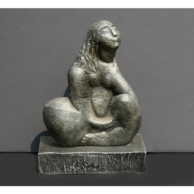 Seated Woman, Cast Metal Sculpture by Michael Lord For Sale - Image 4 of 4