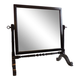 Vintage Table-Top Vanity Mirror in Gloss Black