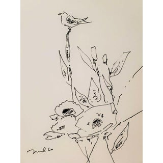 Contemporary Minimalist Botanical Still Life Ink Drawing by Jose Trujillo For Sale