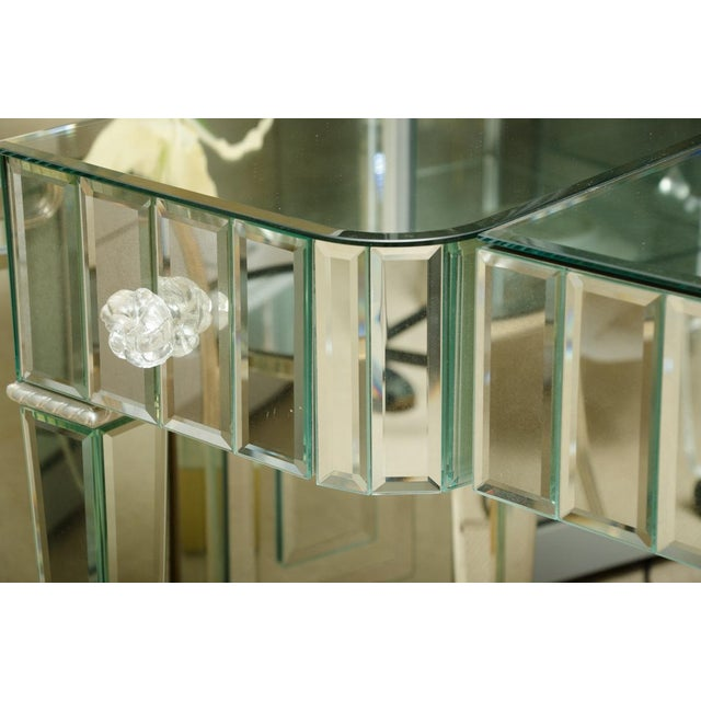 Glass Spectacular Mirrored 3-Drawer Vanity/Desk For Sale - Image 7 of 9