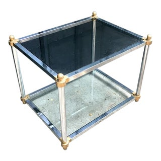 Regency Chrome & Glass Coffee Table For Sale