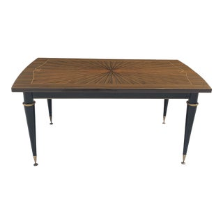 1940s Art Deco Macassar Ebony ''Sunburst'' Writing Desk / Dining Table For Sale