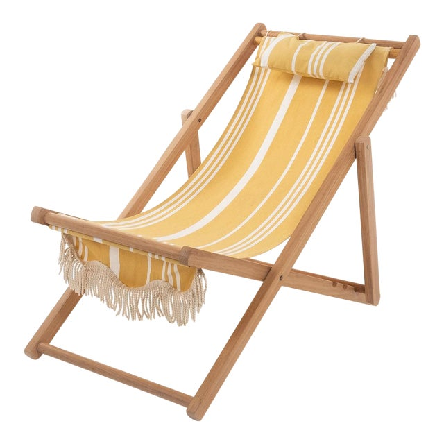 Sling Outdoor Chair - Vintage Yellow Stripe with Fringe For Sale