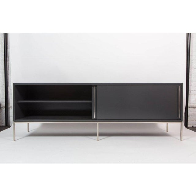 Metal Re 379 Credenza in Wrought Iron With White Doors on Black Base For Sale - Image 7 of 13