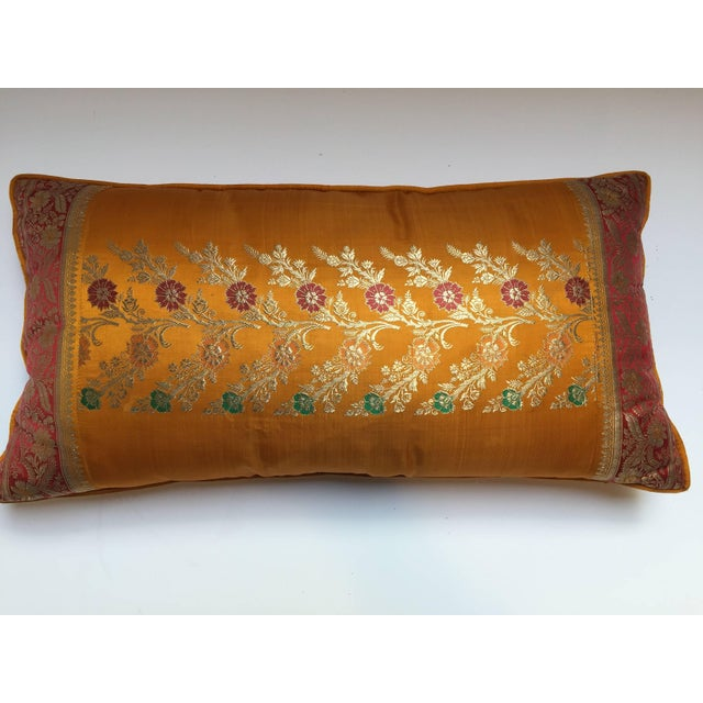 Gold Orange Silk Pillow Custom Made From Indian Wedding Saris For Sale - Image 7 of 7