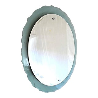 Italian Green Mid Century Modern Century Veca Wall Mirror For Sale