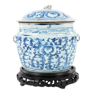 19th C. Chinese Blue & White Porcelain Ginger Jar With Stand For Sale