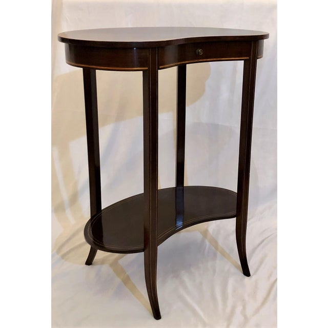 Antique English Mahogany Kidney-Shaped Table, Circa 1880. For Sale - Image 4 of 6