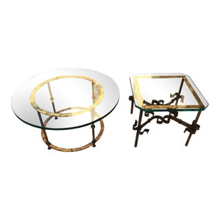 1950s Spanish Thick Glass on Heavy Gilt Iron Side Tables - a Pair For Sale