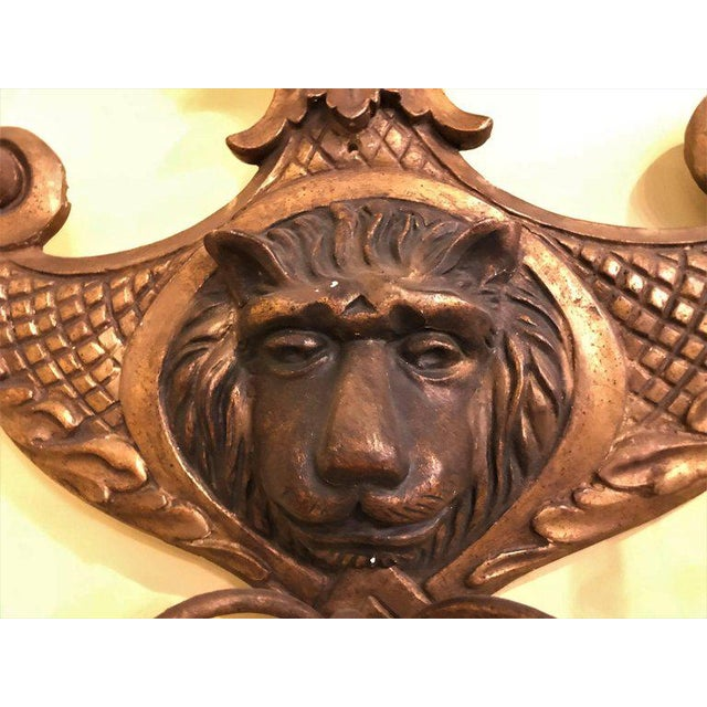 Georgian 19th Century Carved Lion Head Shell Form Wooden Sconces - a Pair For Sale - Image 3 of 10