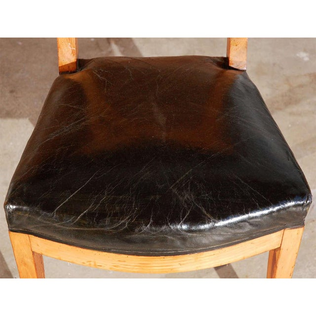 1900s French Dining Chairs With Upholstered Black Leather Seats For Sale In Los Angeles - Image 6 of 7
