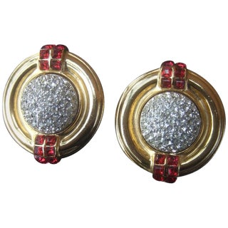 Ben Amun Large Crystal Encrusted Art Deco Style Clip Earrings, Circa 1980s For Sale