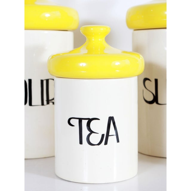 Vintage Mid Century Ceramic Kitchen Canisters - Set of 4 For Sale - Image 4 of 7