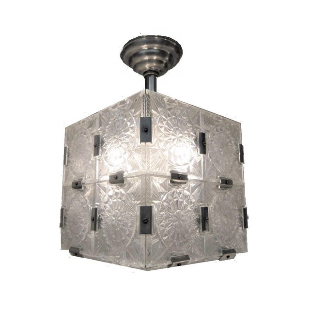 Mid-Century Modern Original Cut Glass With Nickeled Clips Box Cube Pendant Lights - Set of 3 For Sale - Image 3 of 12