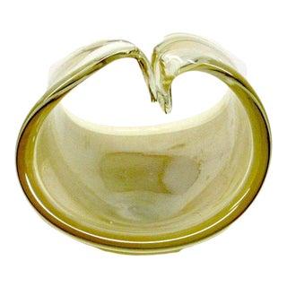 1960s Venetian Cream & Gold Art Glass Basket Bowl For Sale