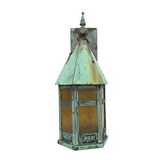 Vintage Old Copper Lantern Exterior Sconce For Sale