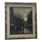 Image of 1960s Paris Street Scene Painting by Msl Calvan For Sale