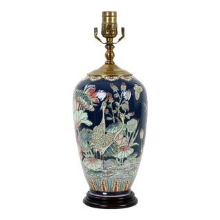 1970s Famille Rose Lamp Depicting a Pair of Cranes in a Lotus Pond For Sale