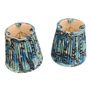 Blue Patterned Sconce Shades - a Pair For Sale