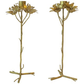 Pair of Gold Gilt Candlestick Holders For Sale