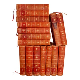 1950s Vintage French Red Books of 19th and 20th Century Authors - Set of 16, Appraised For Sale