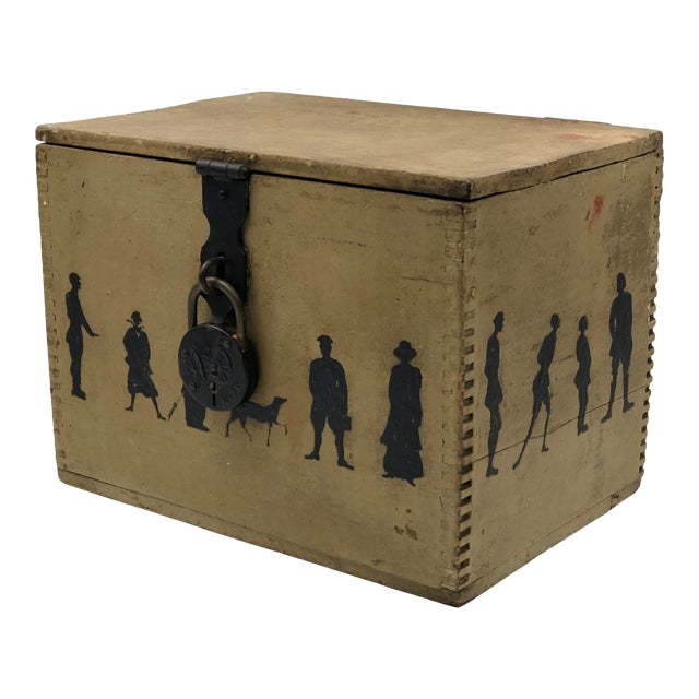 19th Century Silhouette Painted Wooden Box For Sale