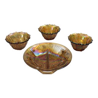 Vintage Mid-Century Indiana Glass Company Wild Rose Candle Holders & Dish - 4 Pieces For Sale