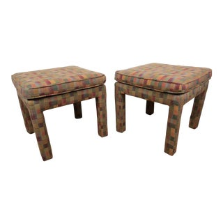 1980s Vintage Multicolor Parsons Stools - a Pair For Sale