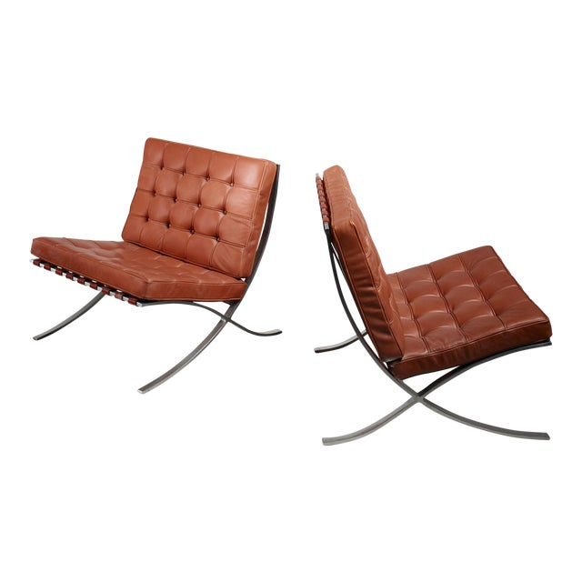 Pair original Barcelona chairs, 1st Knoll edition, 1950s For Sale