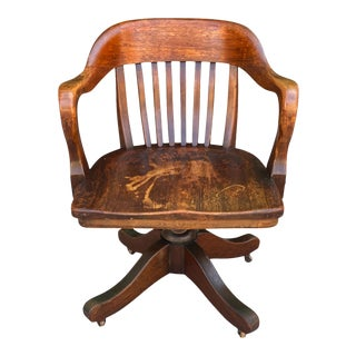 Antique Mahogany Wood Library Office Bankers Desk Chair For Sale
