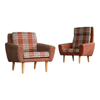 Danish 1960s Pair of Kurt Ostervig Style Easy Lounge Chairs Original Wool For Sale