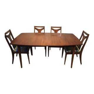 Vintage Mid-Century Dining Table and Chairs- 5 Pieces For Sale
