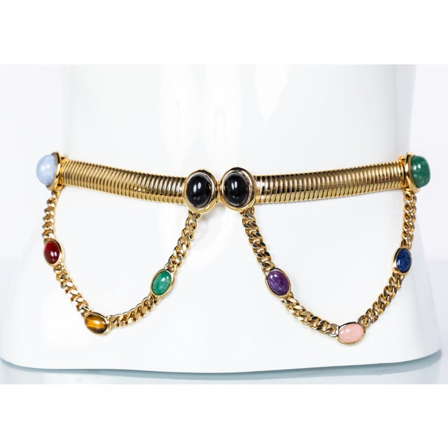 Metal 1990s Judith Leiber Gold Semi-Precious Stones Chain Belt For Sale - Image 7 of 7