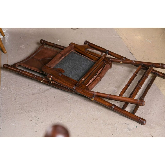 Animal Skin Leather Bamboo-Style Folding Chair - 20 Available For Sale - Image 7 of 9