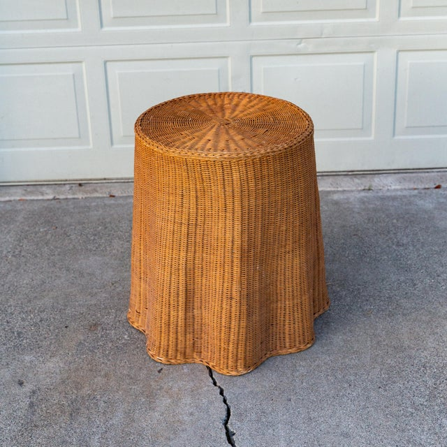 Bielecky Brothers 1970s Boho Chic Trompe l'Oeil Rattan Draped Wicker Ghost Entryway Table For Sale - Image 4 of 9